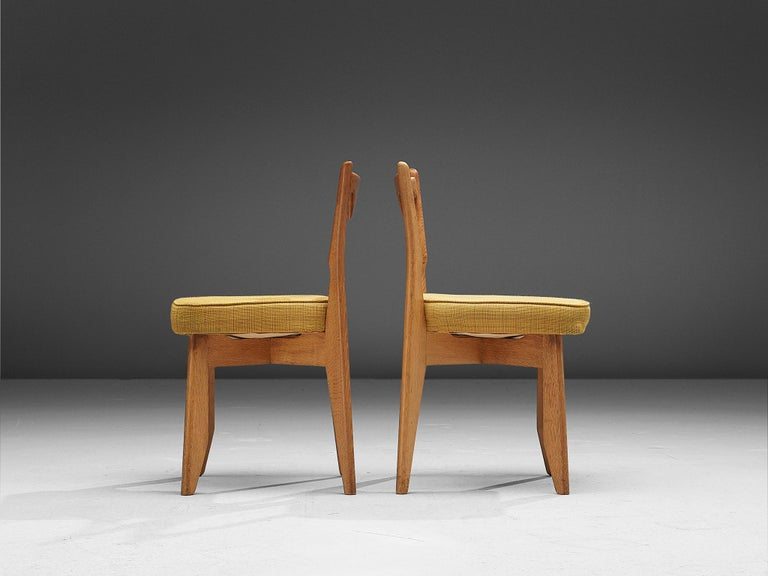 Guillerme et Chambron Set of Dining Chairs in Solid Oak For Sale 1