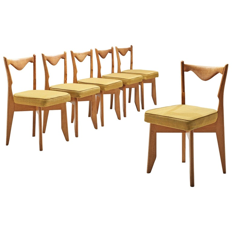 Guillerme et Chambron Set of Dining Chairs in Solid Oak For Sale