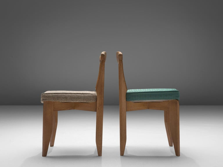 Guillerme et Chambron Set of Eight Dining Chairs in Oak In Good Condition For Sale In Waalwijk, NL