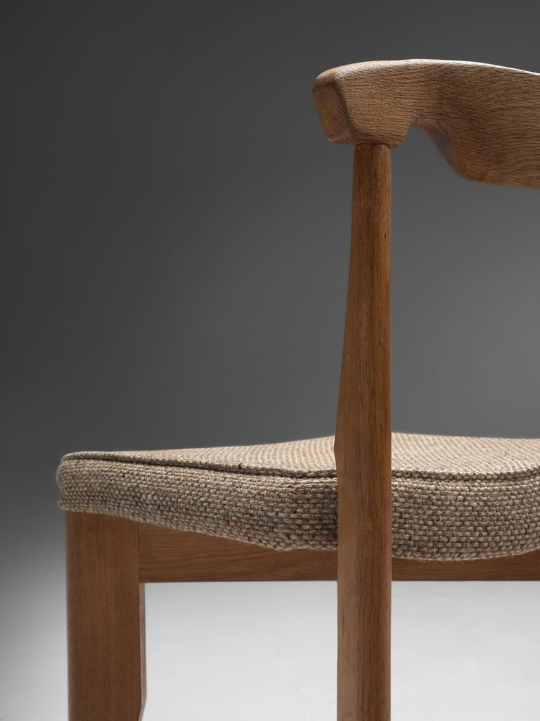Fabric Guillerme et Chambron Set of Eight Dining Chairs in Oak For Sale