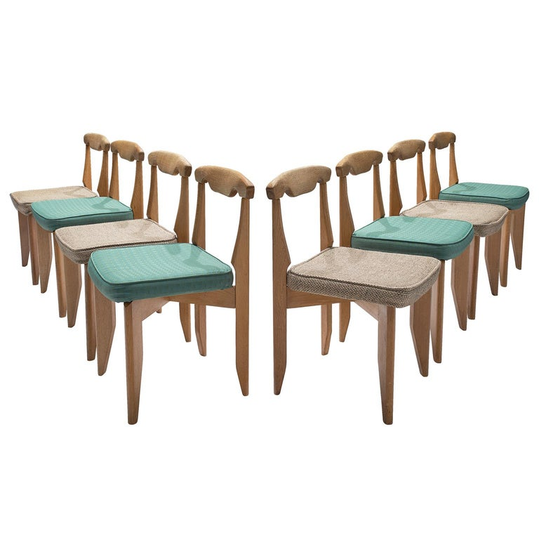 Guillerme et Chambron Set of Eight Dining Chairs in Oak For Sale