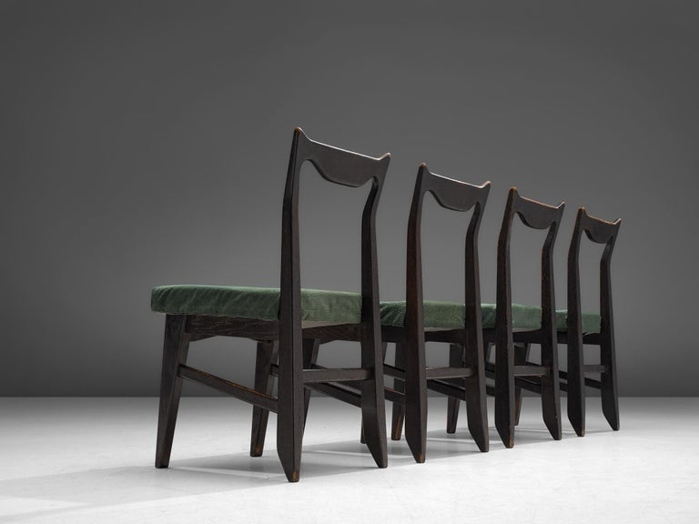 Mid-Century Modern Guillerme et Chambron Set of Four Darkened Oak Dining Chairs For Sale