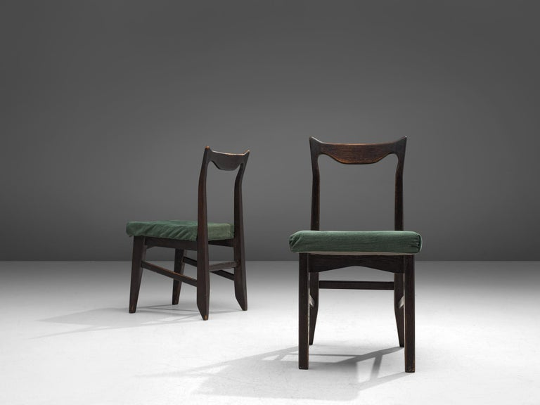 French Guillerme et Chambron Set of Four Darkened Oak Dining Chairs For Sale