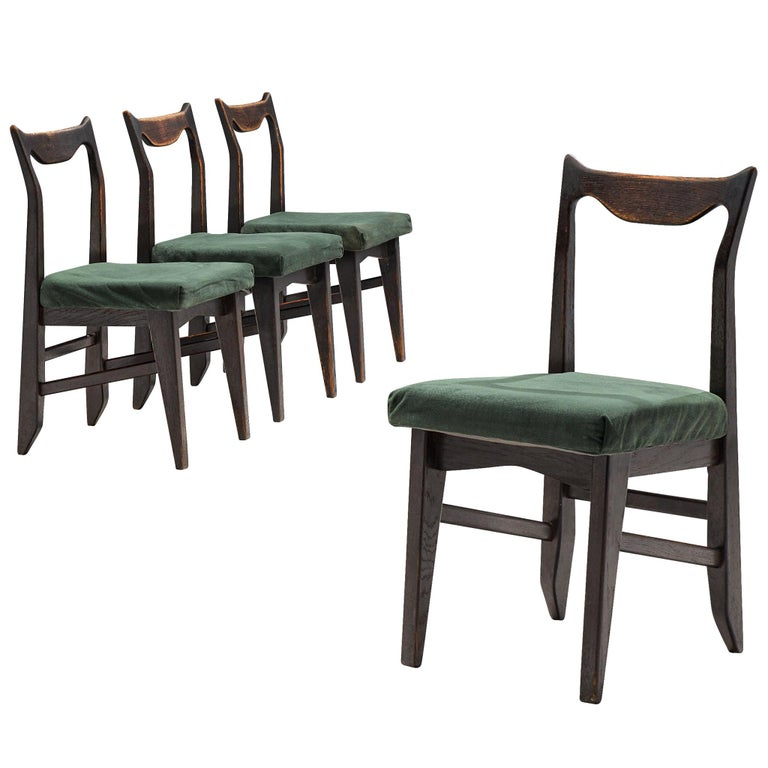 Guillerme et Chambron Set of Four Darkened Oak Dining Chairs For Sale