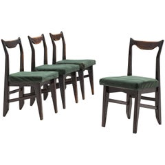 Guillerme et Chambron Set of Four Darkened Oak Dining Chairs