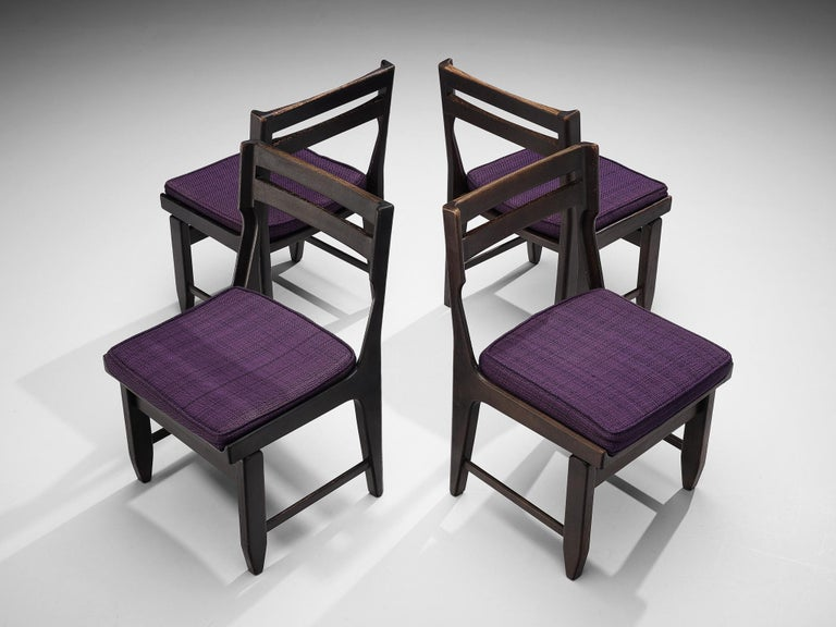 Mid-Century Modern Guillerme et Chambron Set of Four Dining Chairs in Darkened Oak For Sale
