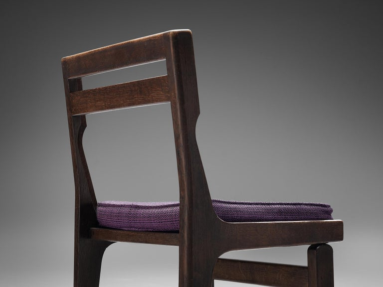 French Guillerme et Chambron Set of Four Dining Chairs in Darkened Oak For Sale
