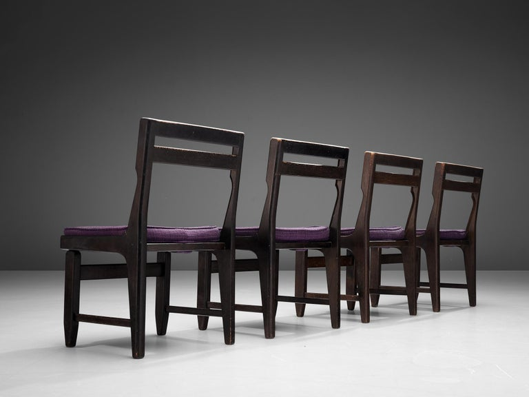 Guillerme et Chambron Set of Four Dining Chairs in Darkened Oak In Good Condition For Sale In Waalwijk, NL