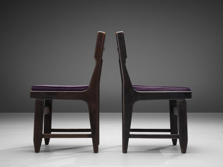 Mid-20th Century Guillerme et Chambron Set of Four Dining Chairs in Darkened Oak For Sale