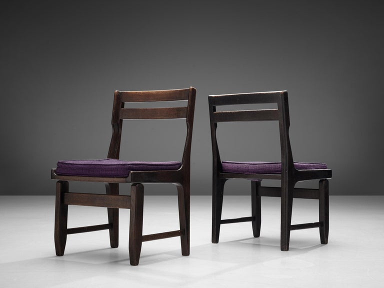 Upholstery Guillerme et Chambron Set of Four Dining Chairs in Darkened Oak For Sale