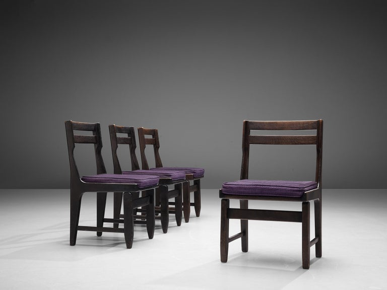 Guillerme et Chambron Set of Four Dining Chairs in Darkened Oak For Sale 1