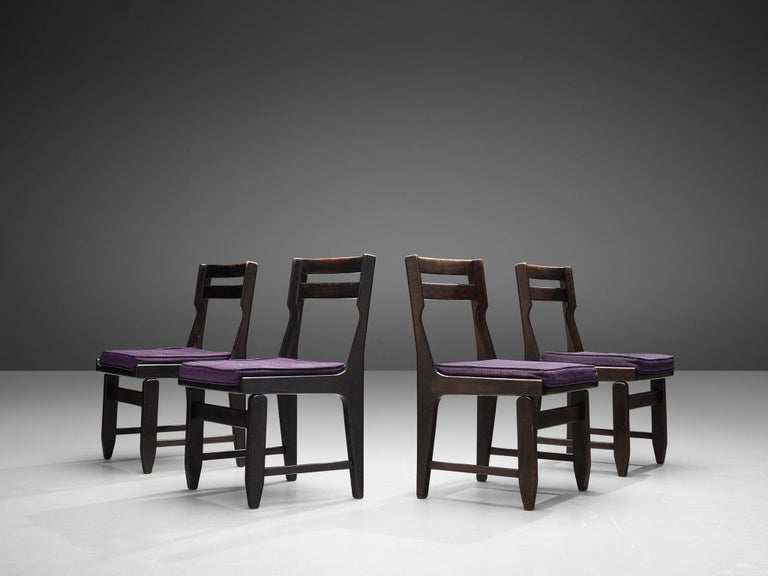 Guillerme et Chambron Set of Four Dining Chairs in Darkened Oak For Sale 2