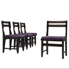 Guillerme et Chambron Set of Four Dining Chairs in Darkened Oak