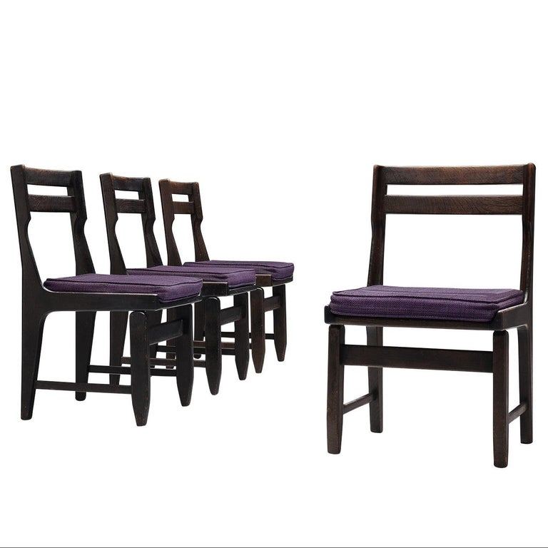 Guillerme et Chambron Set of Four Dining Chairs in Darkened Oak For Sale