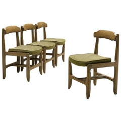 Guillerme et Chambron Set of Four Dining Chairs in Stained Oak