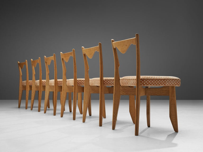 Mid-Century Modern Guillerme et Chambron Set of Six Dining Chairs in Oak For Sale