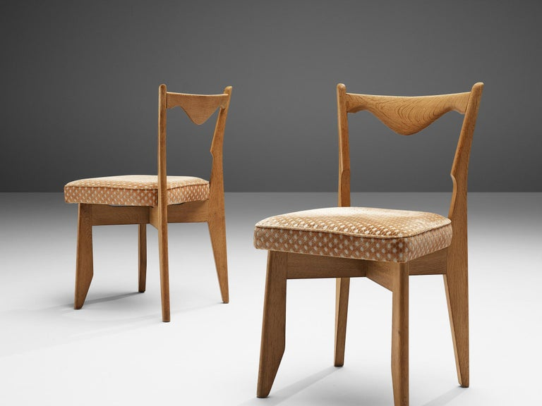 French Guillerme et Chambron Set of Six Dining Chairs in Oak For Sale