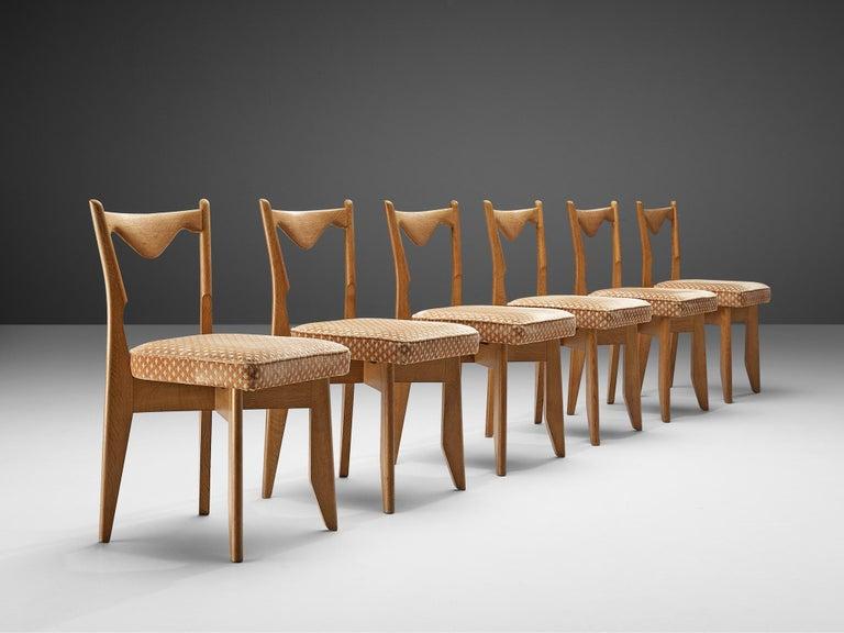 Guillerme et Chambron Set of Six Dining Chairs in Oak For Sale 1