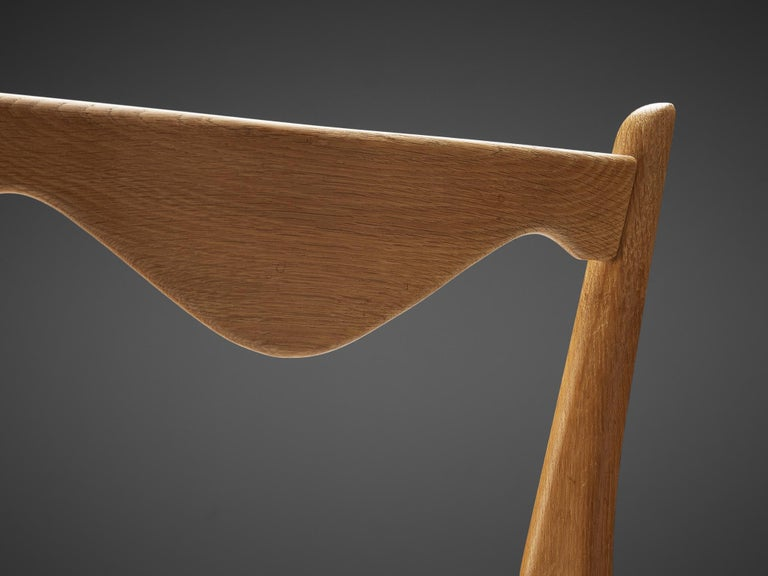 Guillerme et Chambron Set of Six Dining Chairs in Oak For Sale 2