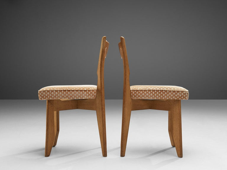 Guillerme et Chambron Set of Six Dining Chairs in Oak For Sale 3