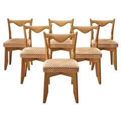 Guillerme et Chambron Set of Six Dining Chairs in Oak