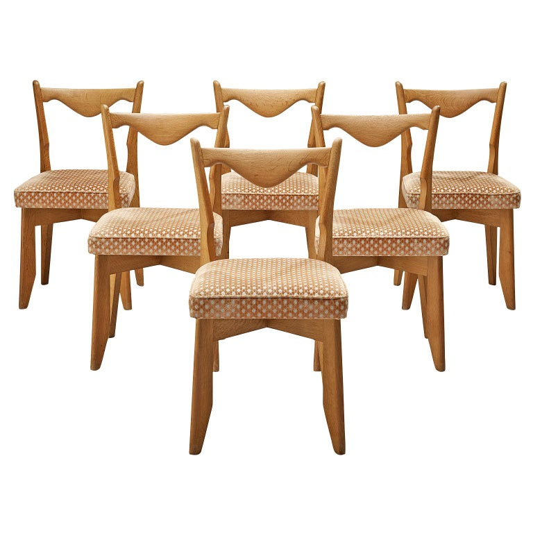 Guillerme et Chambron Set of Six Dining Chairs in Oak For Sale