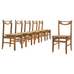 Guillerme et Chambron Set of Six Dining Chairs in Oak with Rush Seats