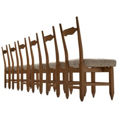 Guillerme et Chambron Set of Six Dining Chairs in Solid Oak