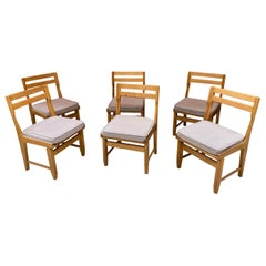 Guillerme et Chambron, Set of Six Oak Chairs, Edition Votre Maison, circa 1970
