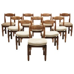 Guillerme et Chambron Set of Ten 'Lorraine' Dining Chairs in Solid Oak