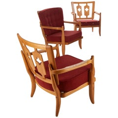 Guillerme et Chambron, Set of Three Oak Lounge Chairs, France, Mid-20th Century