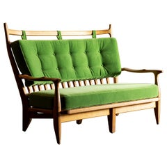 Guillerme et Chambron Settee in Oak with Mohair Velvet Cushions, France, 1960s