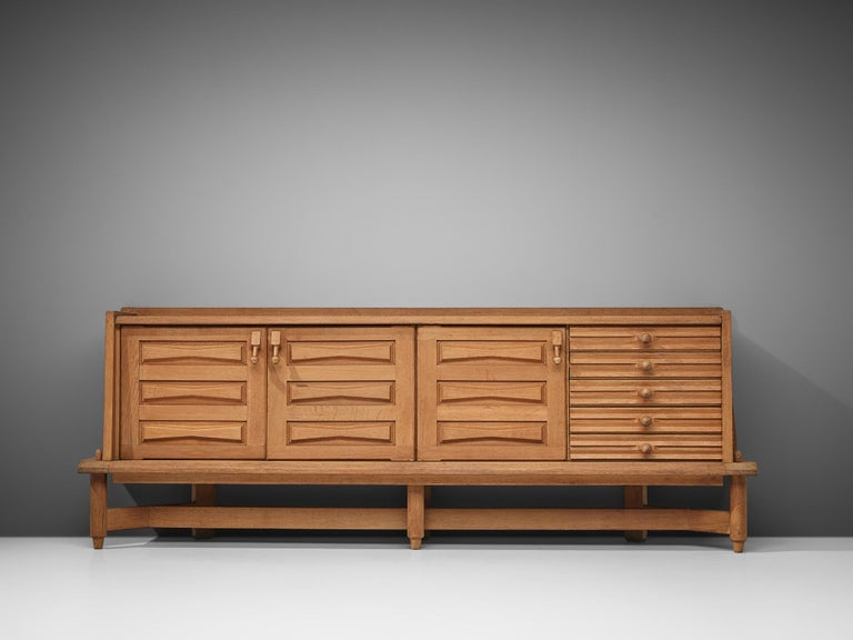 Mid-Century Modern Guillerme et Chambron Sideboard in Oak For Sale
