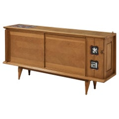 Guillerme et Chambron Sideboard in Oak with Ceramic Tiles