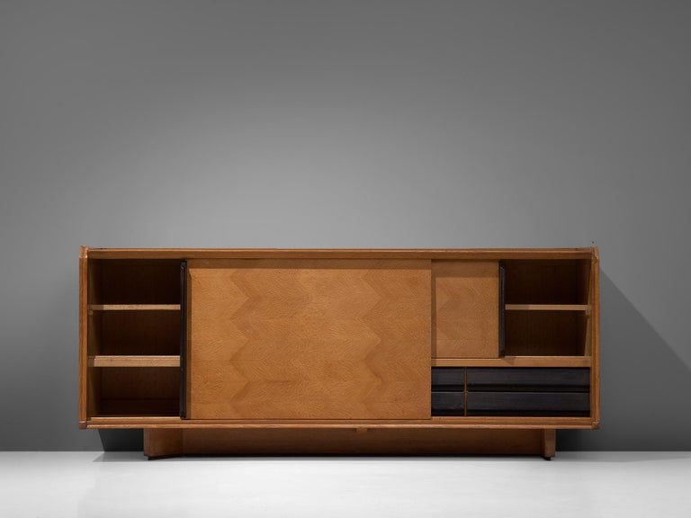 Guillerme et Chambron Sideboard in Oak with Sliding Doors For Sale 4