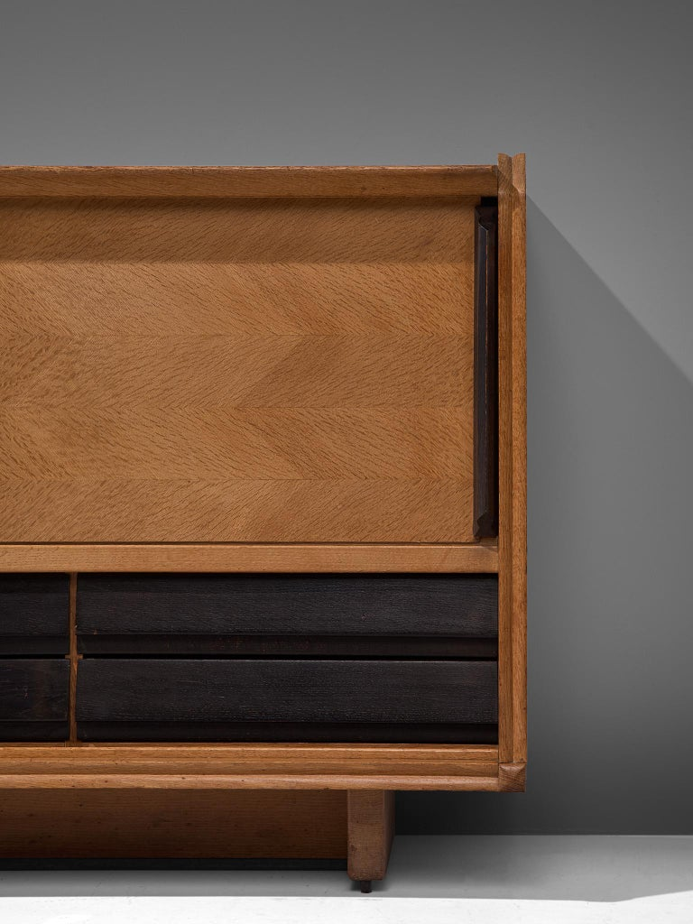 French Guillerme et Chambron Sideboard in Oak with Sliding Doors For Sale