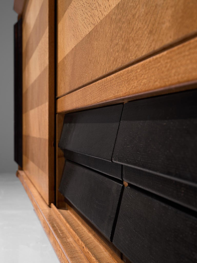 Mid-20th Century Guillerme et Chambron Sideboard in Oak with Sliding Doors For Sale