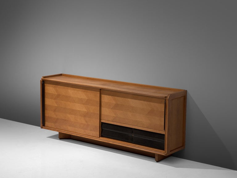 Guillerme et Chambron Sideboard in Oak with Sliding Doors For Sale 3
