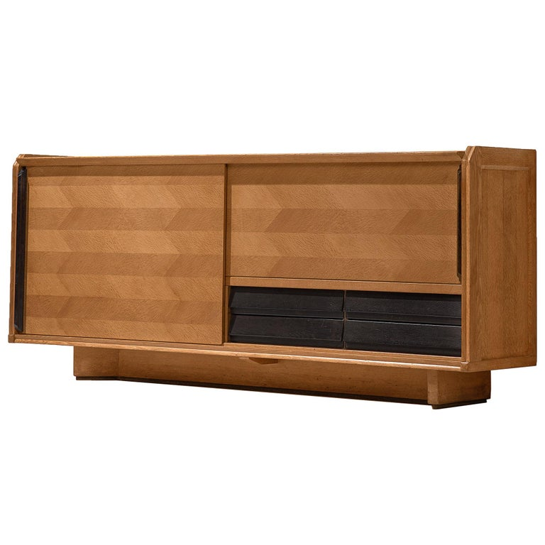 Guillerme et Chambron Sideboard in Oak with Sliding Doors For Sale