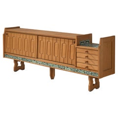 Guillerme et Chambron Sideboard 'Simon' in Oak with Ceramics
