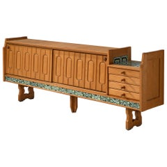Guillerme et Chambron 'Simon' Sideboard in Oak with Ceramics