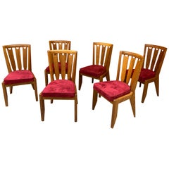 Guillerme et Chambron, Six Oak Chairs, Edition Votre Maison, circa 1950-1960
