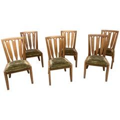 Guillerme et Chambron, Six Oak Chairs, Edition Votre Maison, circa 1950-1960
