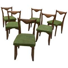 Guillerme et Chambron, Six Oak Chairs, Edition Votre Maison, circa 1970