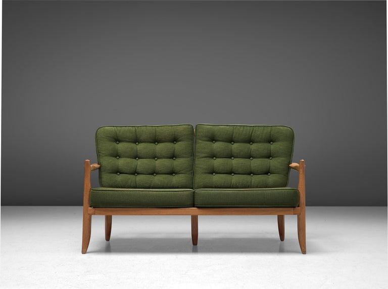 Mid-Century Modern Guillerme et Chambron Sofa in Moss Green Upholstery For Sale
