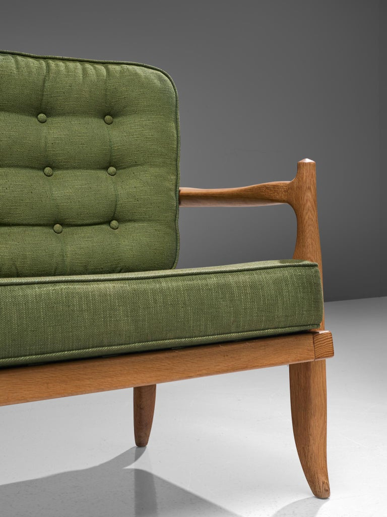 Guillerme et Chambron Sofa in Moss Green Upholstery For Sale 2