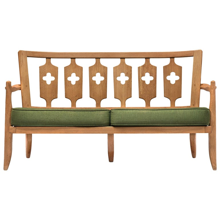 Guillerme et Chambron Sofa in Moss Green Upholstery For Sale