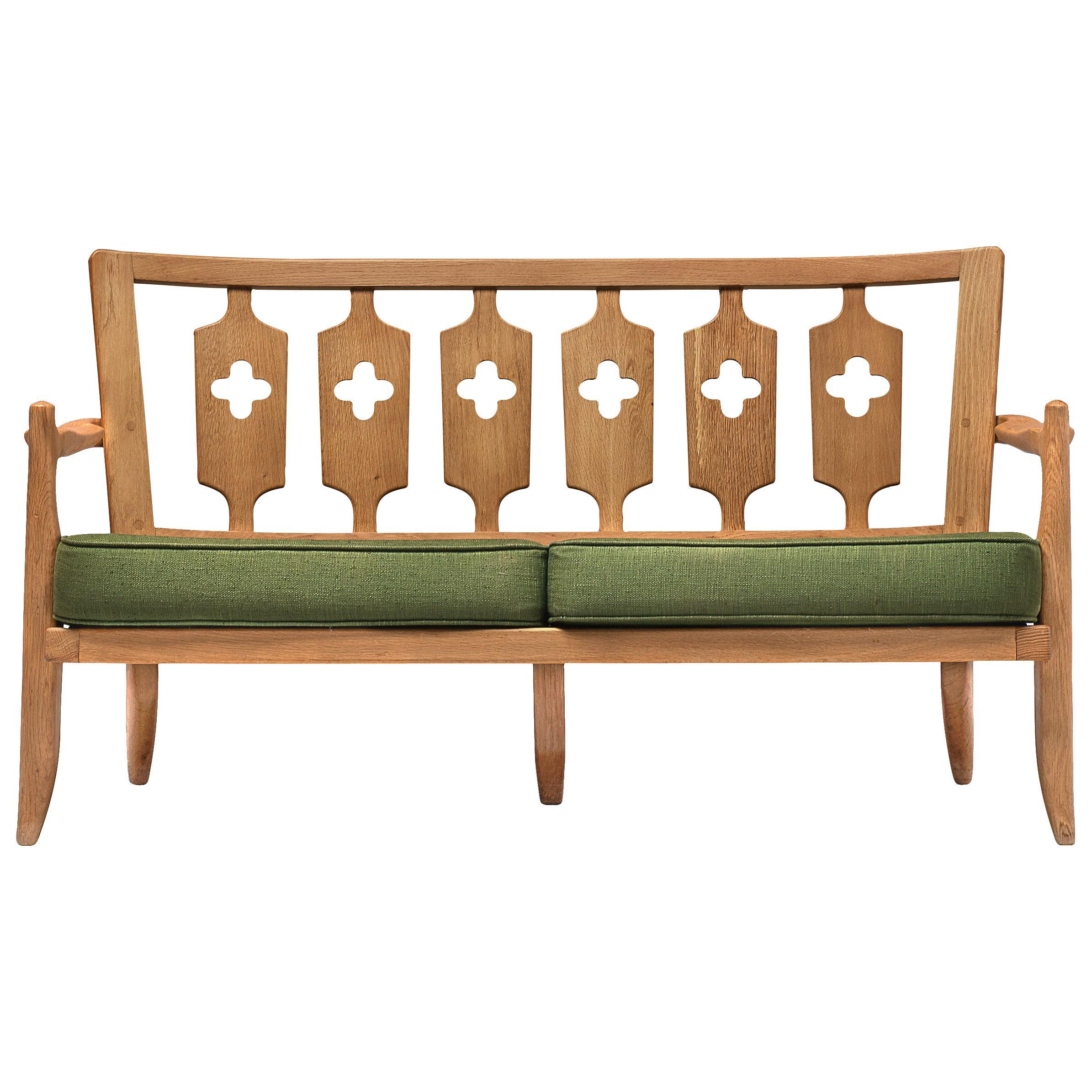 Guillerme et Chambron Sofa in Moss Green Upholstery