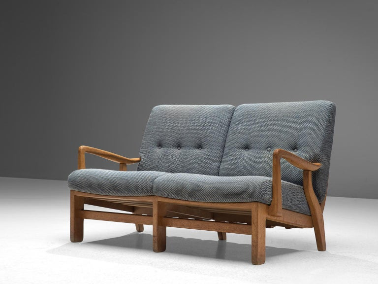 Mid-Century Modern Guillerme et Chambron Sofa in Soft Blue Upholstery For Sale