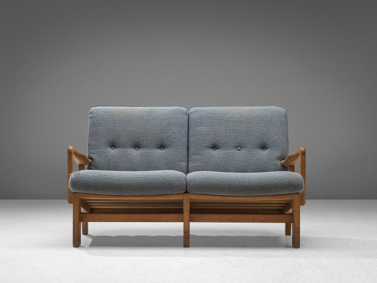 French Guillerme et Chambron Sofa in Soft Blue Upholstery For Sale